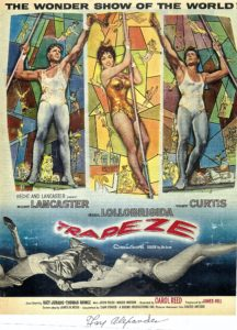 Fay Alexander stunt double for Tony Curtis and Gina Lolabrigida in movie Trapeze