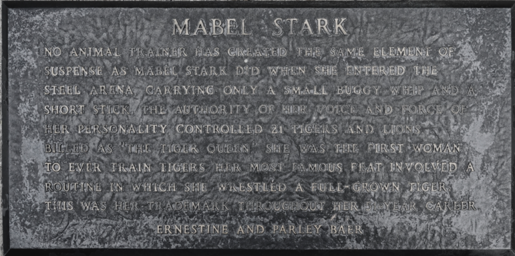 Mabel Stark Circus Ring of Fame Inductee